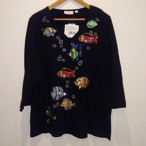 Size XL Quaker Factory sequin fish Black blouse